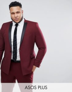 ASOS PLUS Skinny Suit Tuxedo Jacket In Dark Burgundy With Black Satin Lapel
