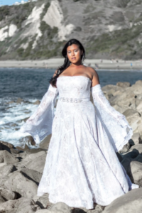Bueaitufl bohemian plus size wedding gown