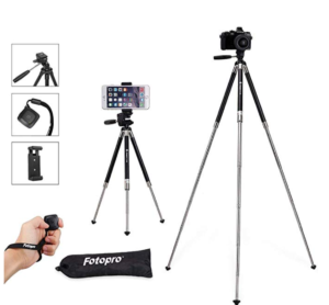 Bluetooth remote and tripod for bloggers