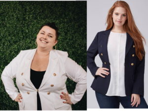 White Navy Blue Blazer Lane Bryant
