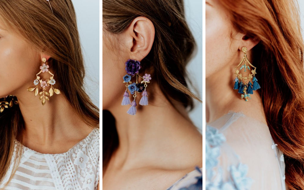 Brass unique earrings inspired by French Baroque and Beauty and the Beast