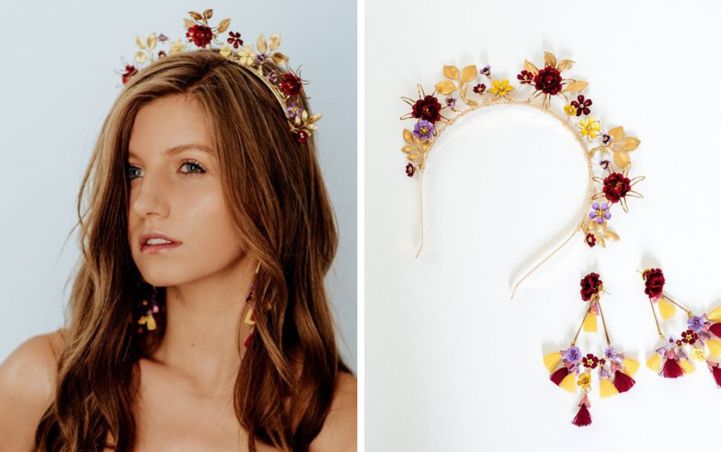 Red, yellow and purple brass gold flower crown for weddings or prom