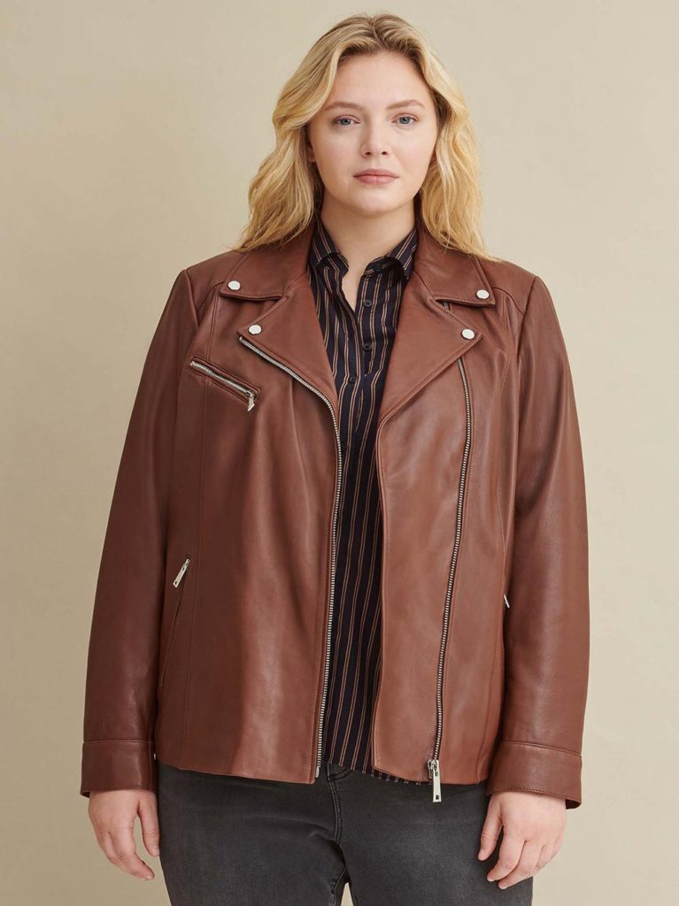 plus size model in brown plus size leather jacket  - real leather