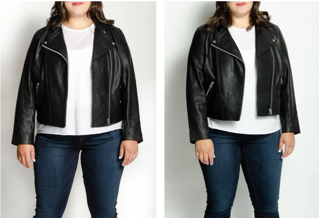 plus size model in black  plus size moto jacket  - real leather