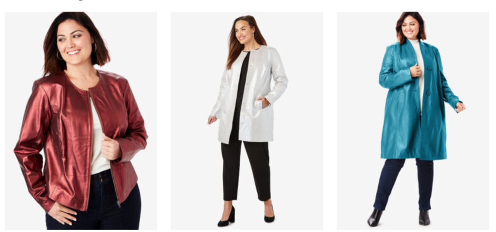 side by side of plus size models in red plus size leather jacket, white plus size leather jacket and blue long faux leather plus size coat