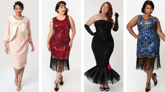 Vintage inspired plus size Halloween costumes, Jackie Kennedy, Flapper, Barbie and more from Unique Vintage