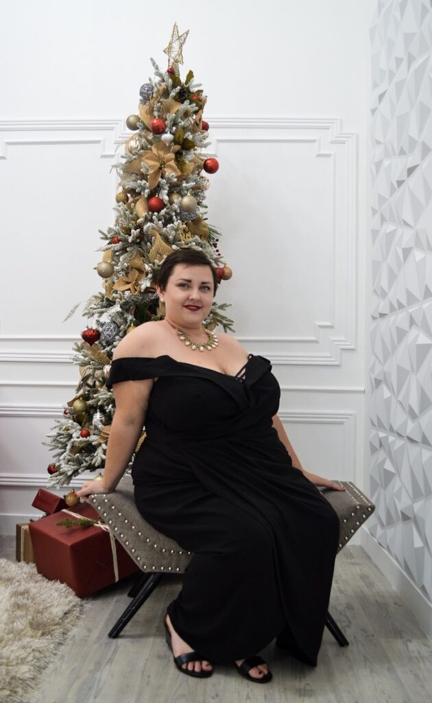 Festive plus size holiday gown