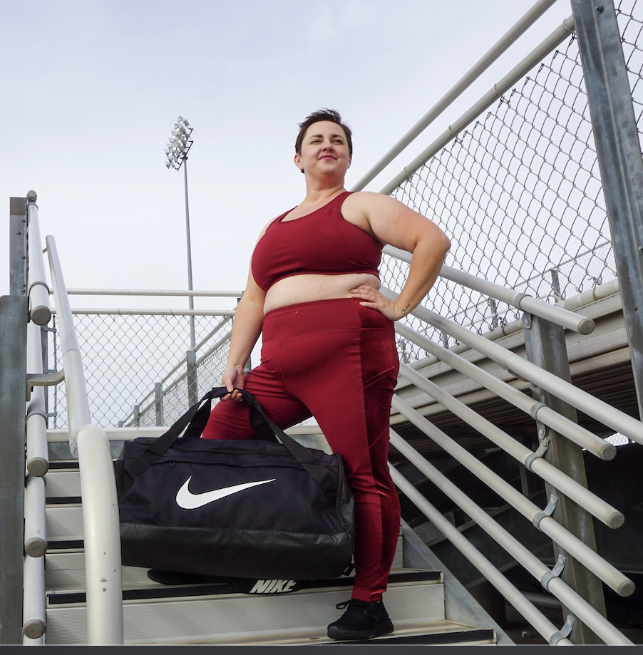 plus size fitness model in workout clothing
