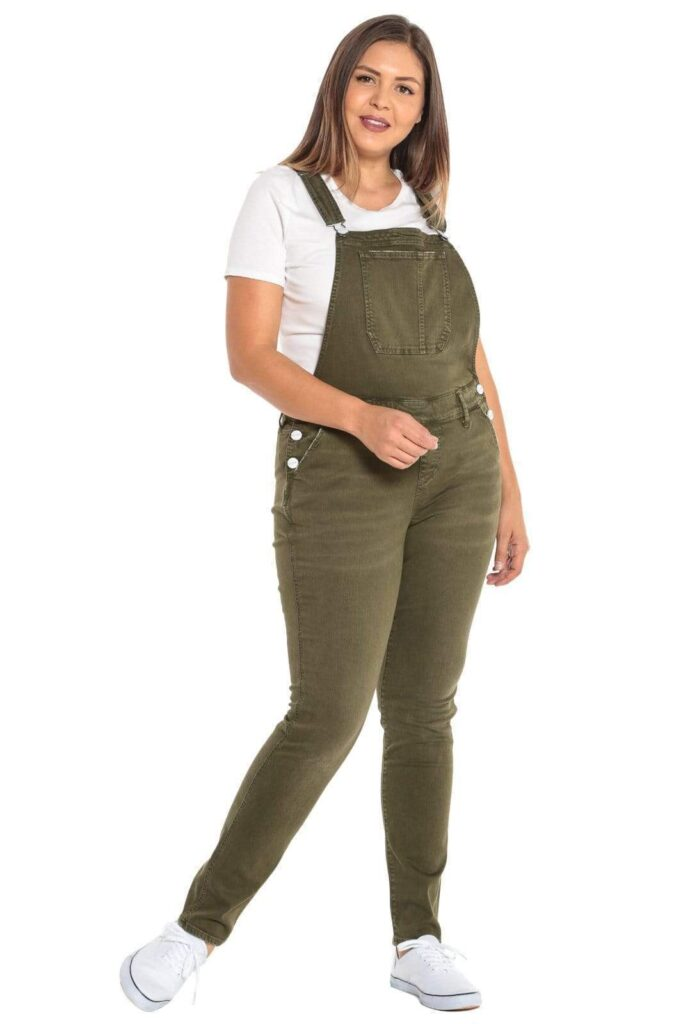 green Plus Size Overalls
