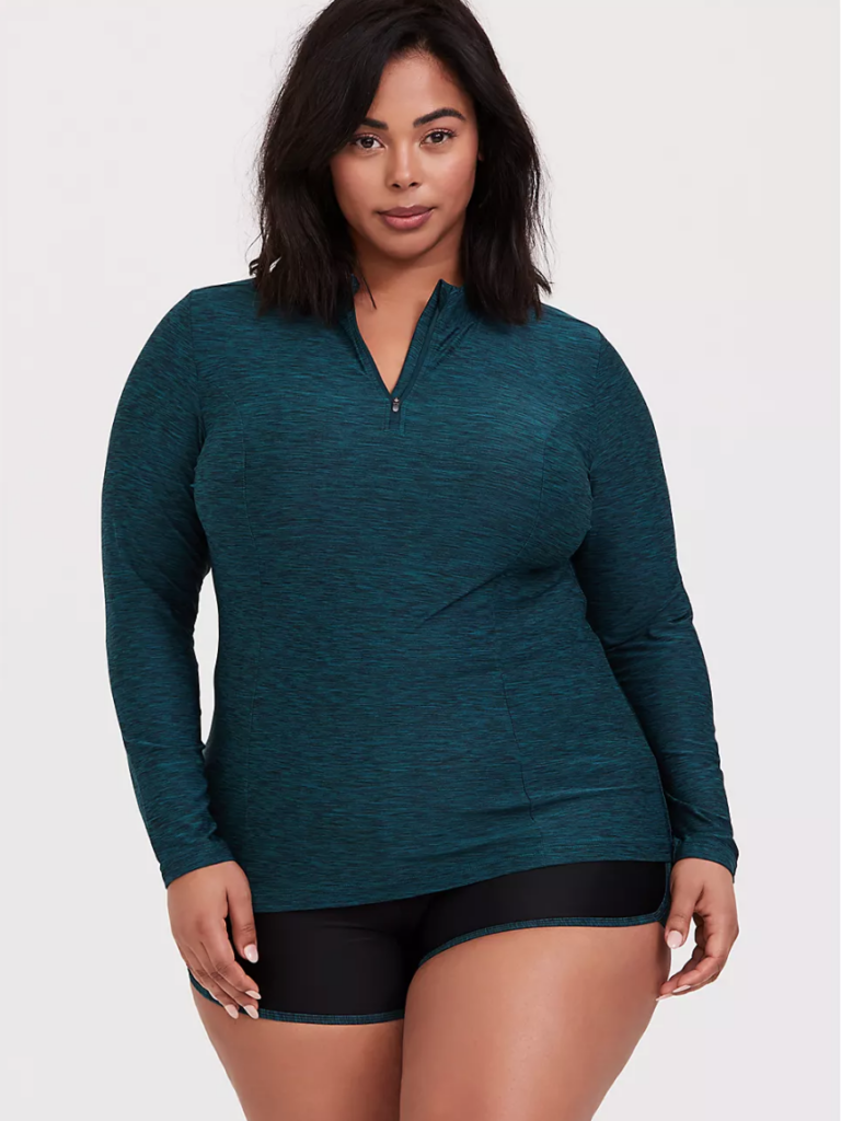 teal rash guard for plus size swimmers