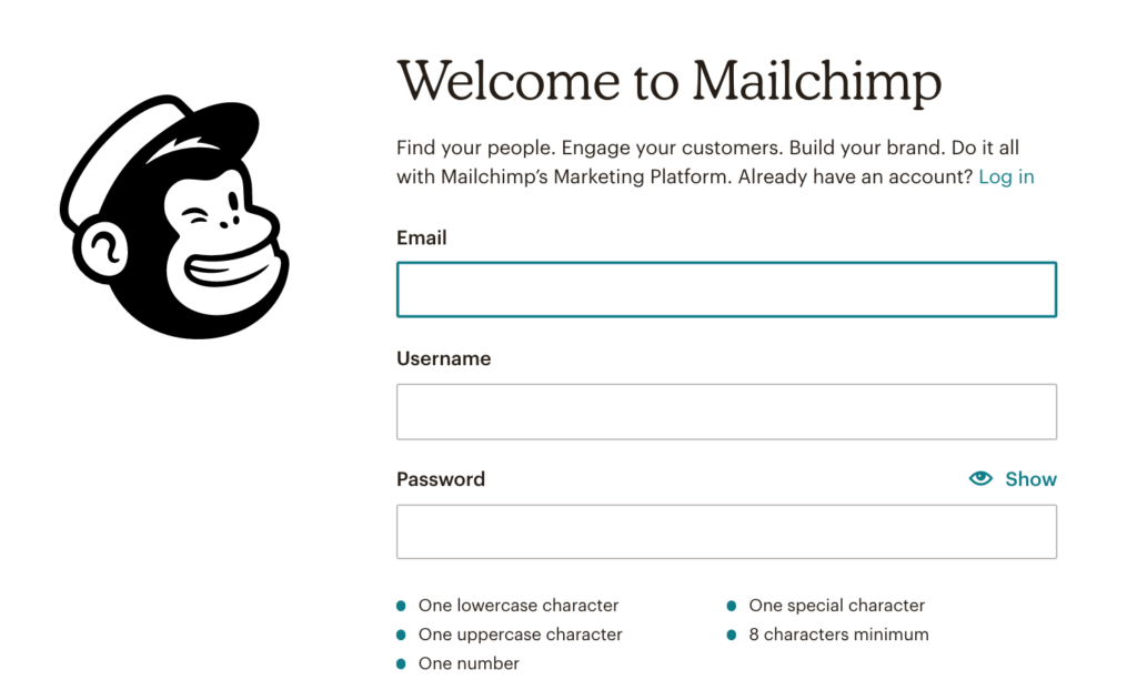 Setting up a newsletter link in MailChimp step 1