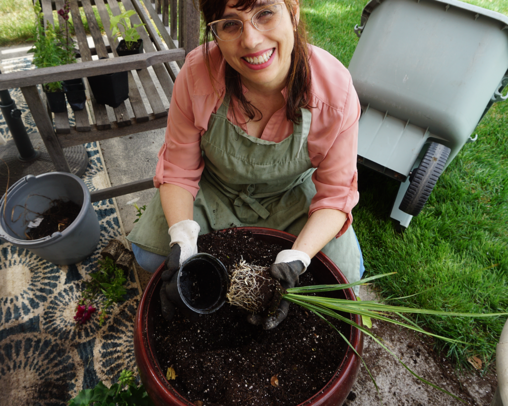Planting flowers for Mother's Day