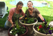 Planting flowers for Mother's Day - Blogger Pot Home Improvement Tutorial