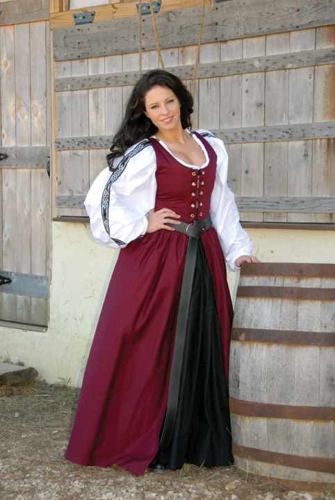 plus size renaissance costume tied front white sleeves