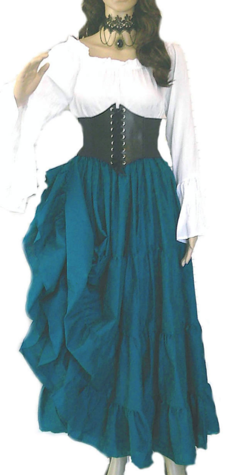 Fun corset belt plus size renaissance fair costume in teal blue