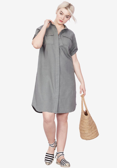 Plus size Clothing in up to a size 34!  Shirt dress in gray.