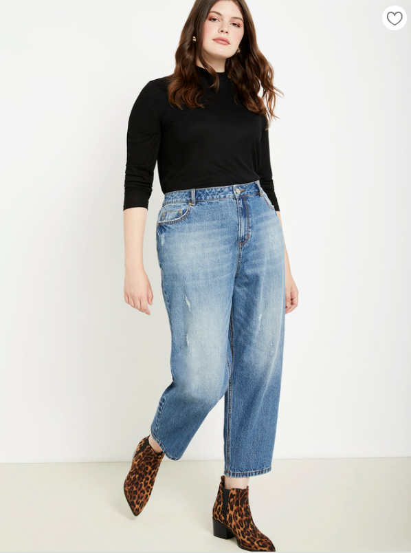 Plus size boyfriend jeans from Eloquii with cheetah booties and black top