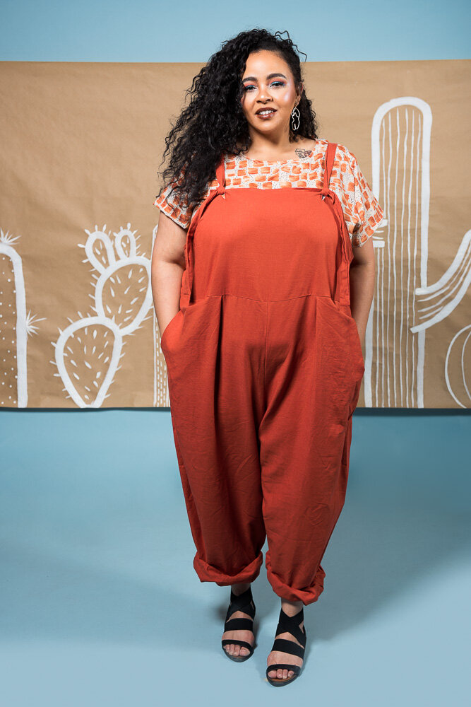 Plus size colorful fun overalls in a 6X