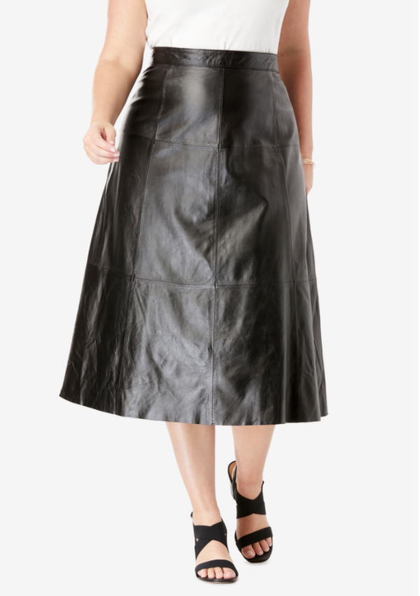 Plus size a-line faux leather midi skirt from Jessica London