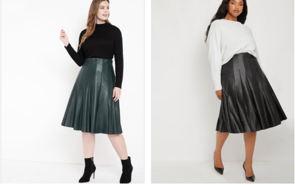 Plus size leather skater skirt trump skirt for Eloquii in black and green