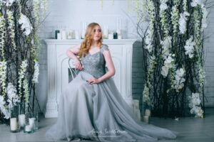 Unique gray plus size customizable wedding gown