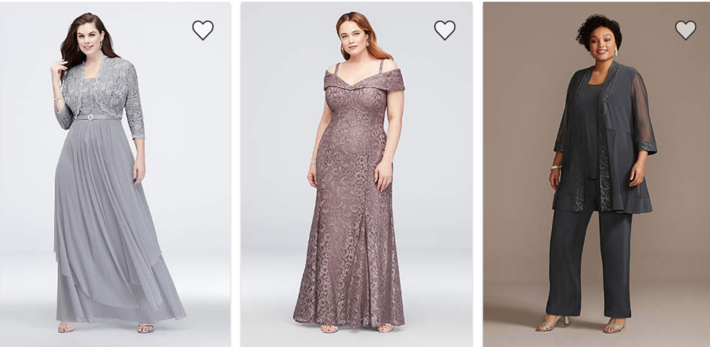 Plus Size mother of the bride gowns and pantsuits from David's Bridal