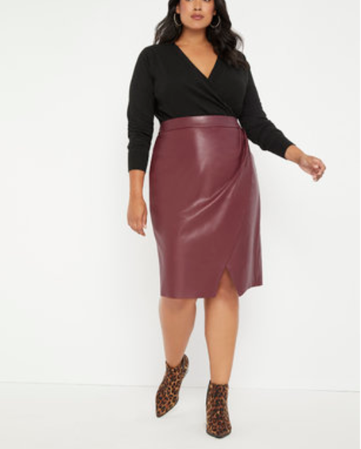 Red faux leather plus size leather skirt