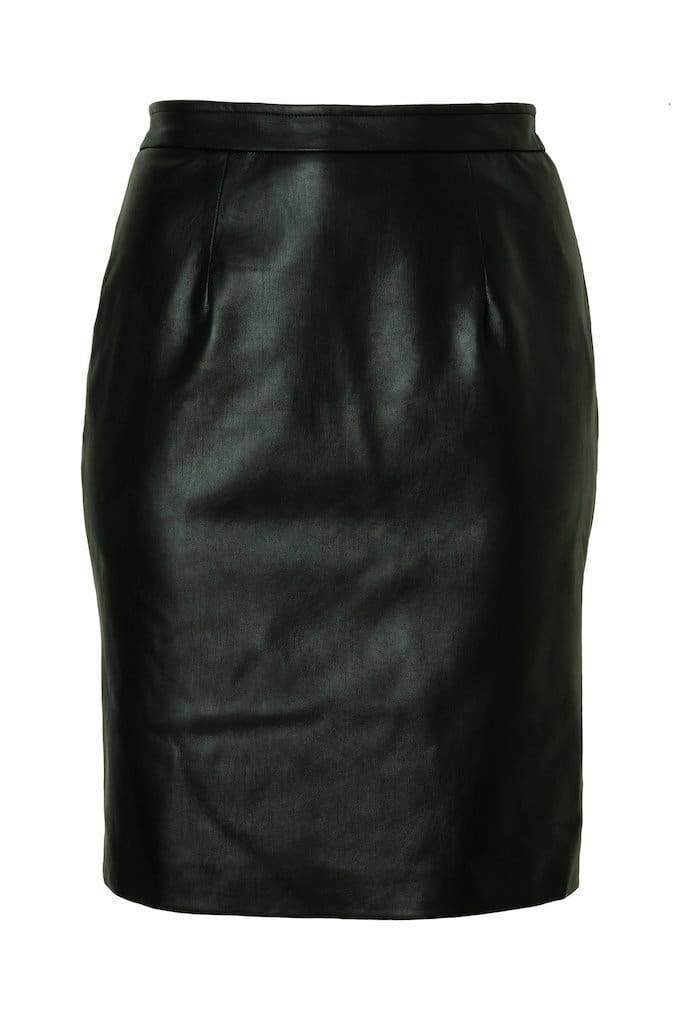 Real leather plus size pencil skirt