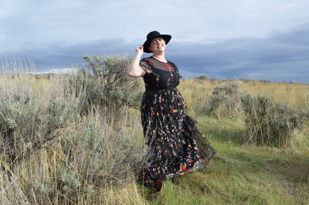 Black dress - Plus size long prairie dress Plus Size ML Monique Lhuillier Look Book
