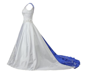 Side view of unique plus size wedding dress with a train
