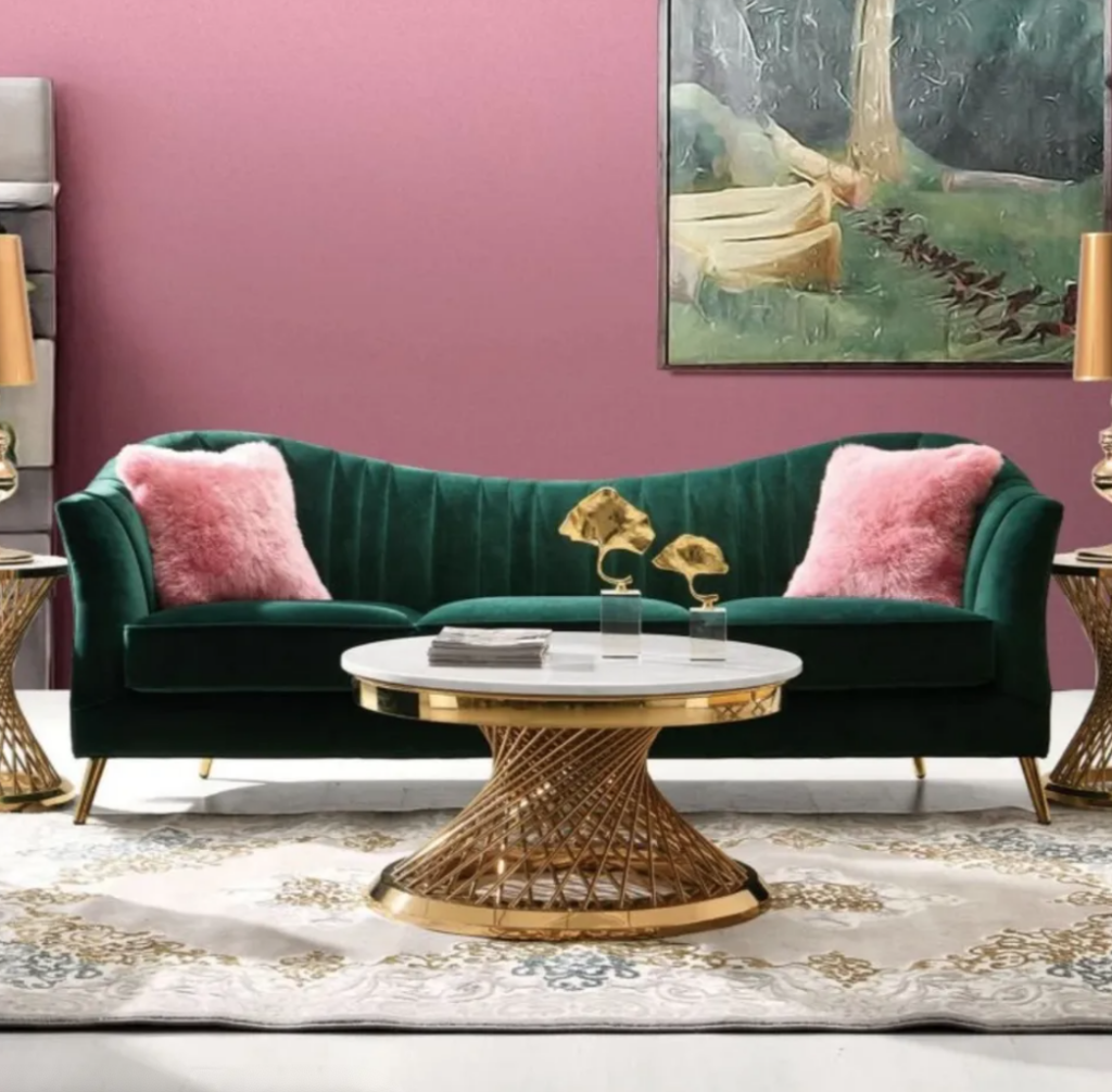 Unique tufted emerald green couch