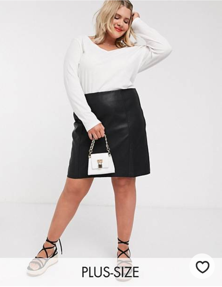 Plus size leather mini skirt from ASOS Curve