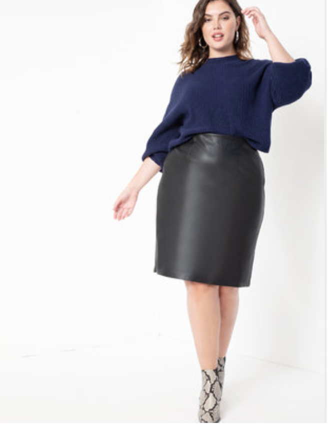 Plus size faux leather pencil skirt from Eloquii