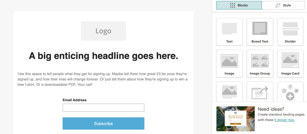 Setting up a newsletter link in MailChimp step 12