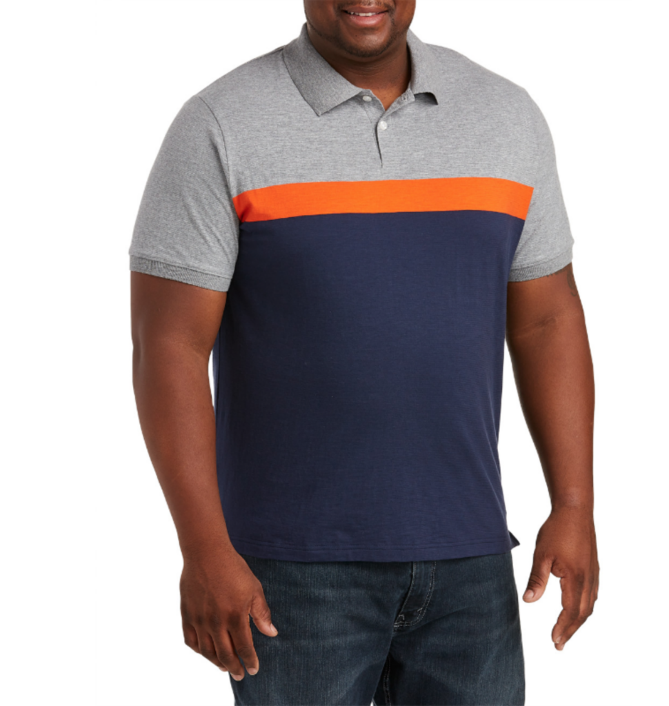 Trendy husky polo shirt in navy blue and gray with orange stripe