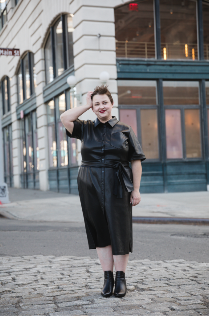 Black Plus size faux leather look book