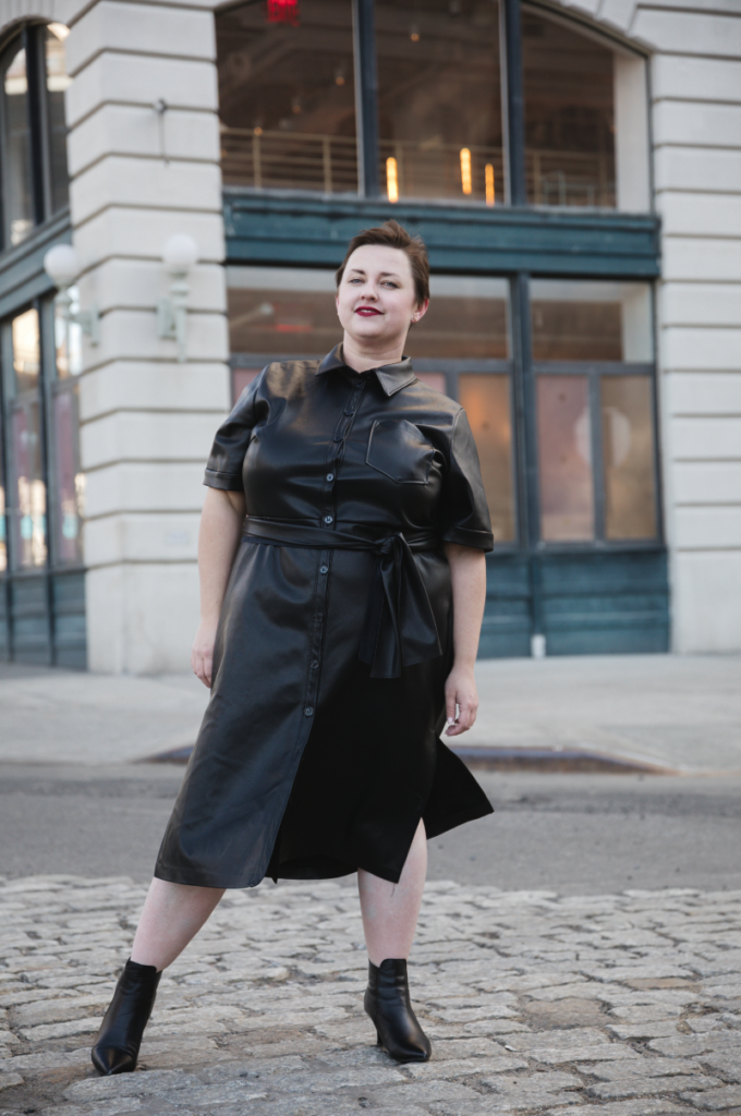 Faux leather street style in NYC