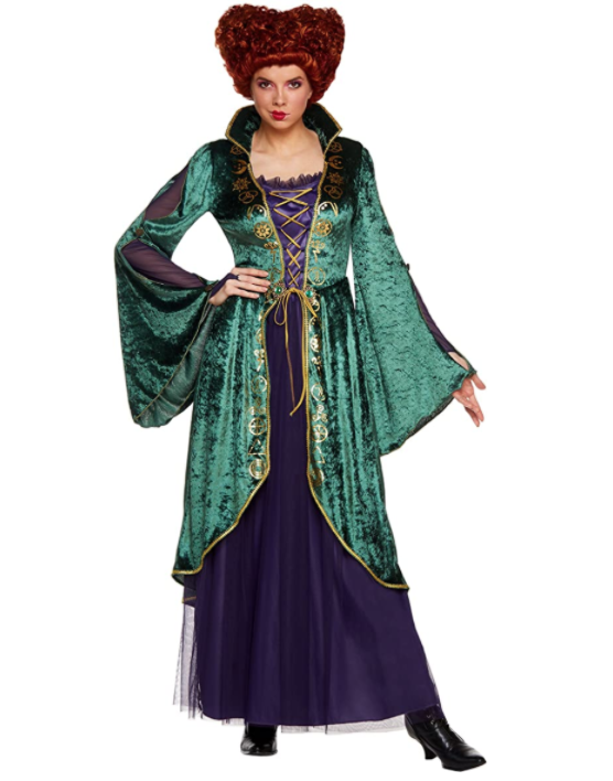 Plus size hocus pocus witch costume - winnifred with wig