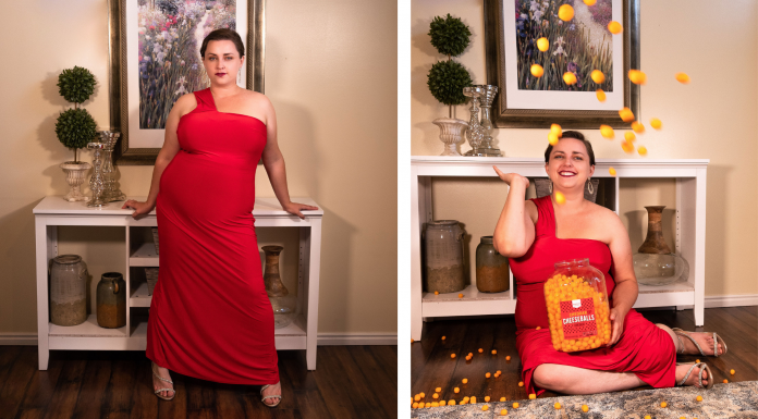 At home plus size fashion editorial - ASOS Curve & Cheese Puffs