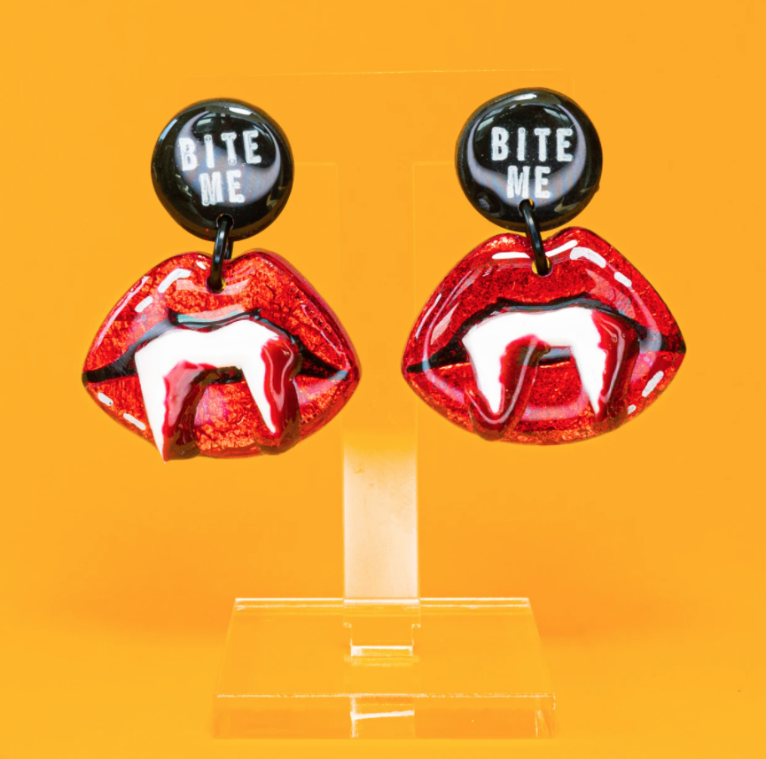 Halloween statement earrings with vampire fangs