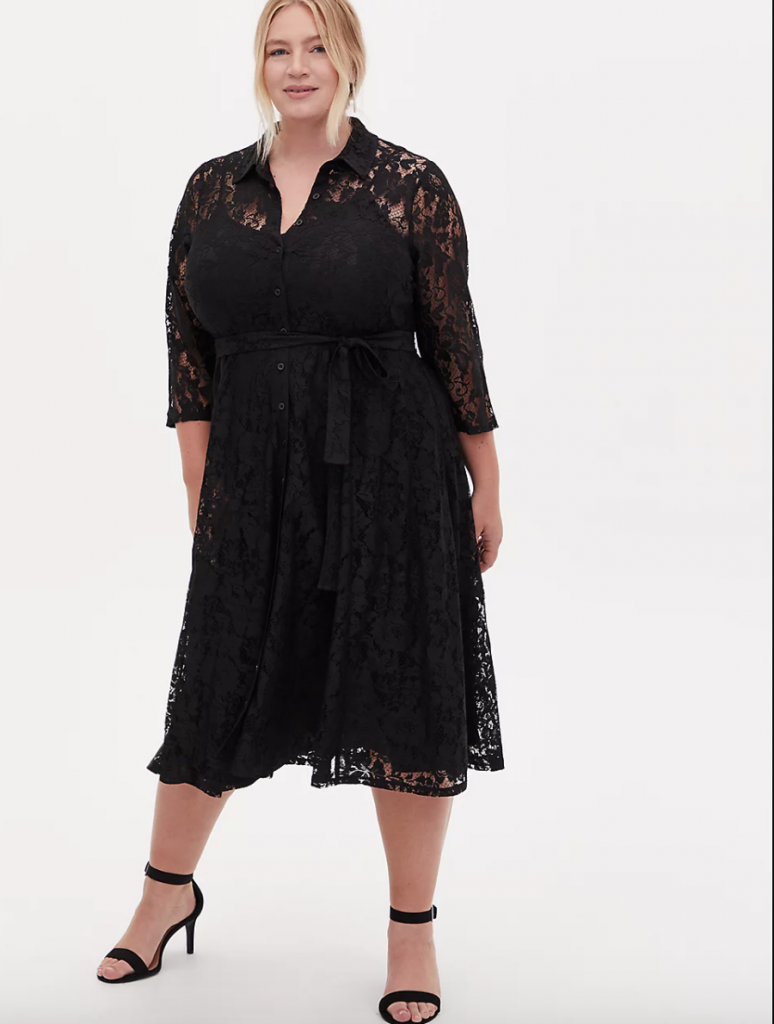 Black Lace Self-tie Tea Length Shirt Dress from Torrid Fall 2020
