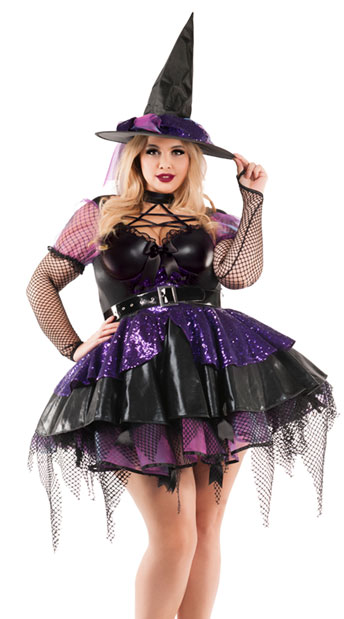 Faux leather purple and black witch costume with short dress for Halloween with pentagram detailing