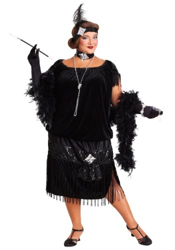 Plus Size halloween costume - Black Flapper Dress that goes up to a size 34 or 8X!