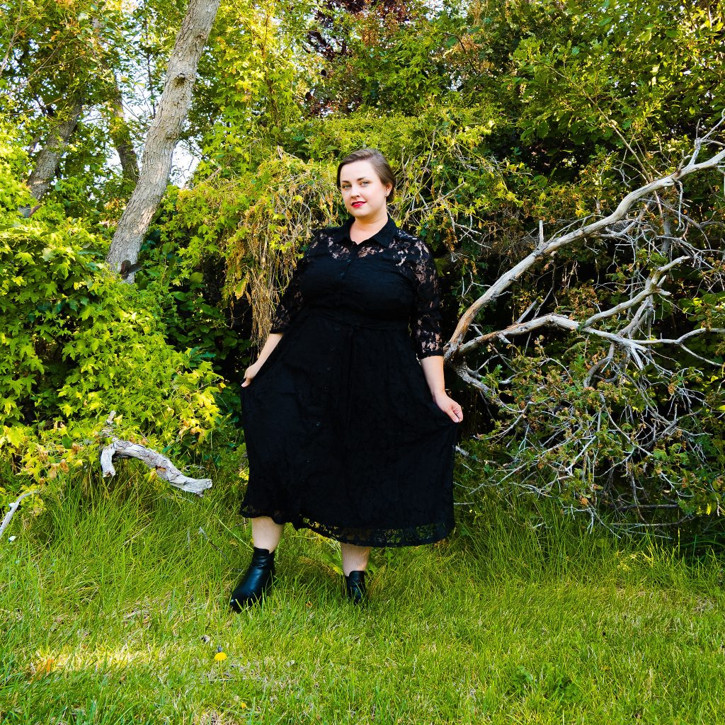 Fall fashion trends AHS Coven inspired photoshoot with dress from Torrid