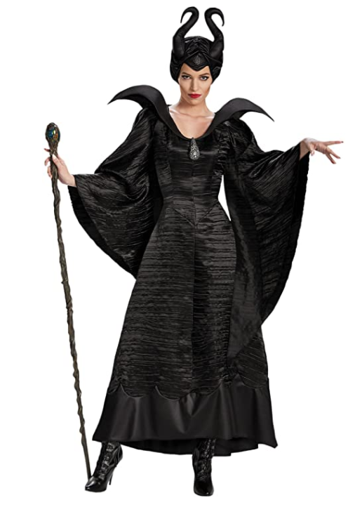 Plus size Disney Maleficent costume floor length with staff.
