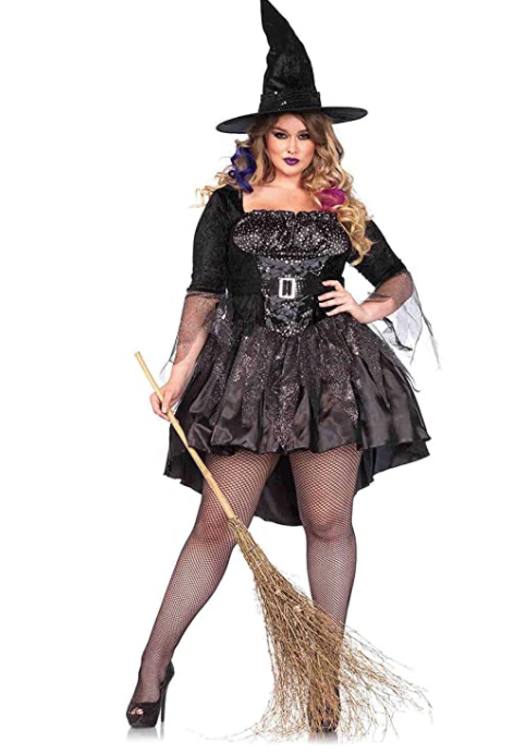 Sparkly black short plus size witch Halloween costume
