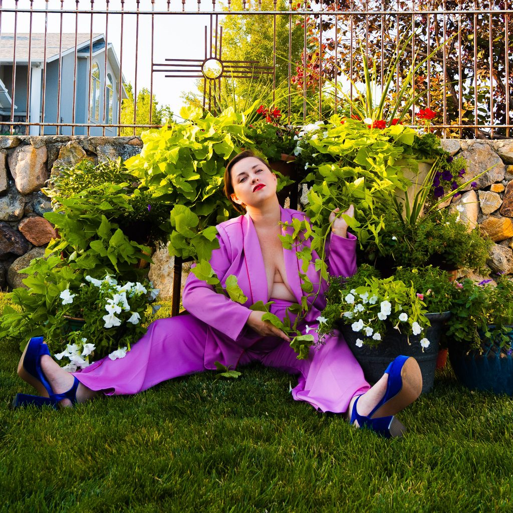 Lavender Plus Size Suit for Secondhand September Fashion Editorial - Utah Plus Size Model & LGBT Influencer.