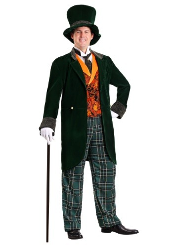 Dapper plus size men's Mad Hatter costume in a 7x, with top hat and orange waistcoast/vest