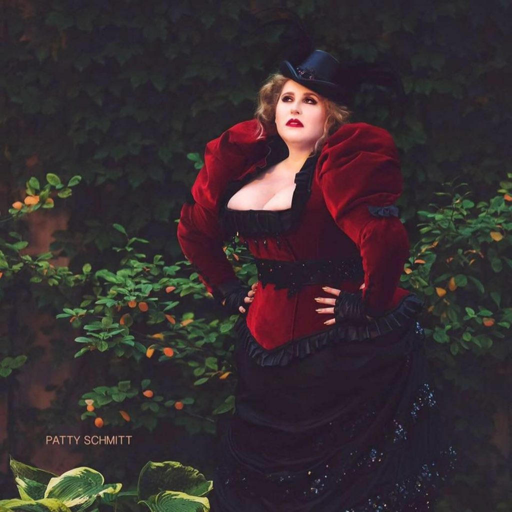 Plus size victorian steampunk jacket coat with hat.
