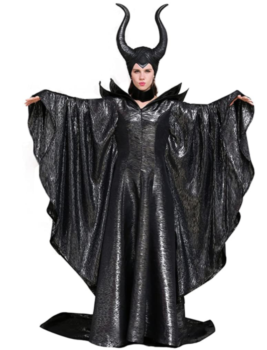 Plus size black floor length plus size Halloween Costume Maleficent with horns and strong shoulder pieces
